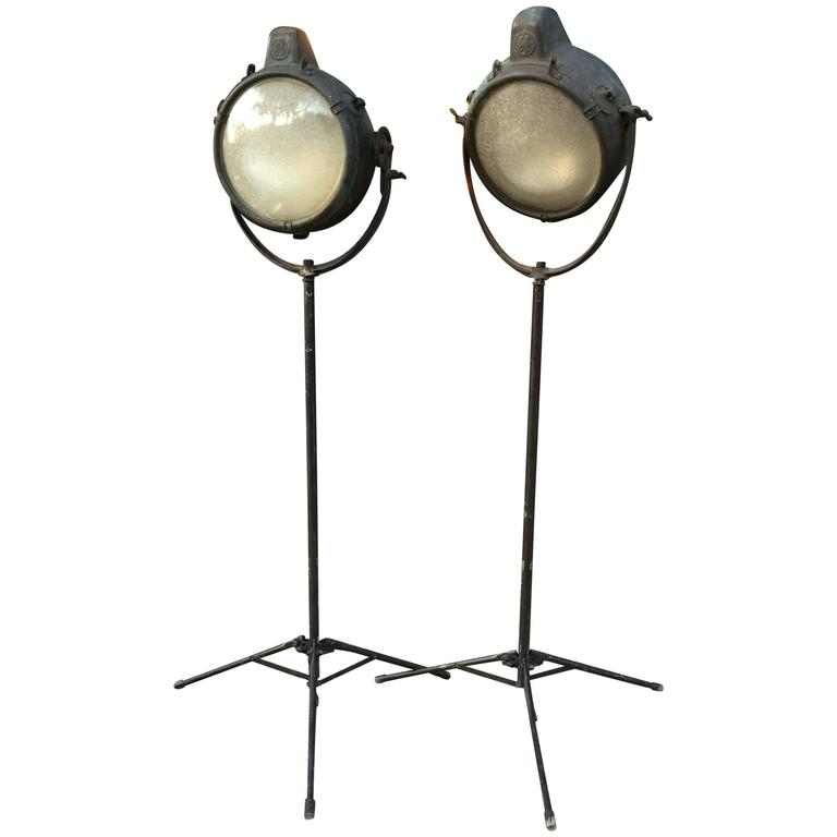 Industrial GE Copper Search Light Floor Lamps