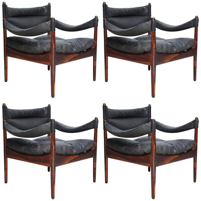Set of Four Kristian Solmer Vedel 'Modus' Rosewood Lounge Chairs  1