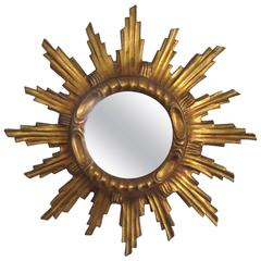 Vintage Giltwood Sunburst Mirror, France