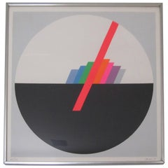 Italian '70s Modern Graphic Print Art Work by Eugenio Carmi