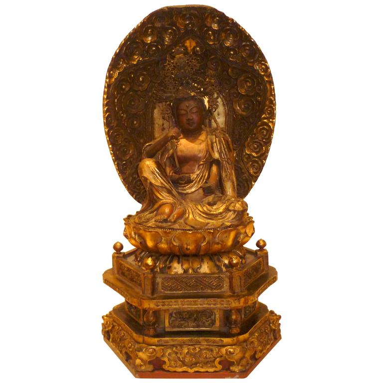 Japanese Gilt Lacquered Wood Buddhist Figure of Nyorin Kannon