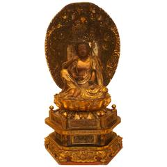 Japanese Gilt Lacquered Wood Buddhist Figure of Nyorin Kannon