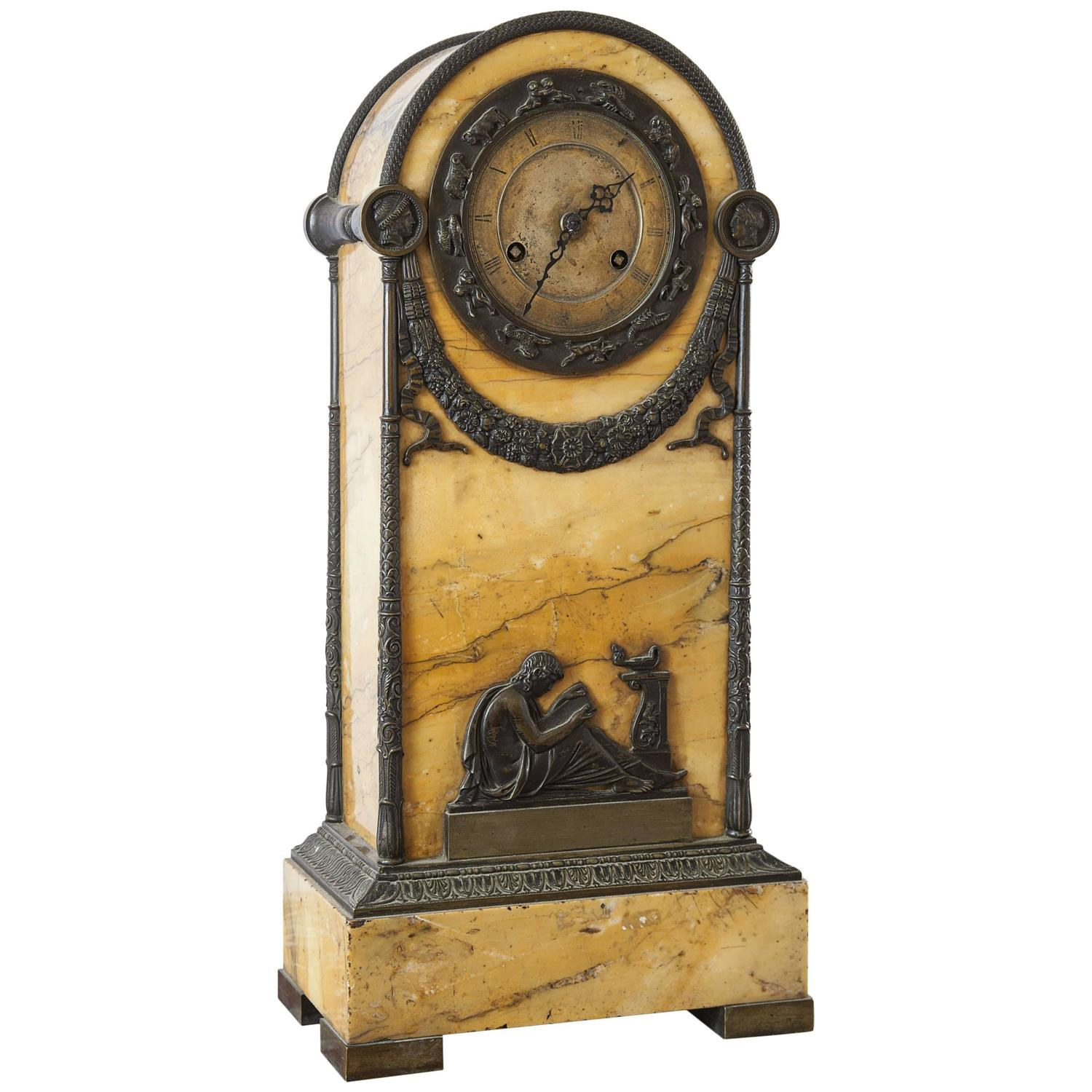 Siena Marble Mantle Clock 18 Quot At 1stdibs