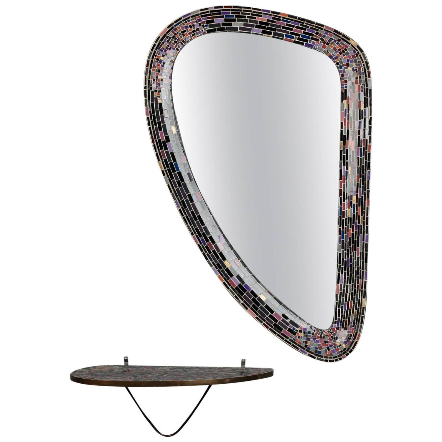 Mid century west german mosaic mirror with wall console at for Mosaic mirror