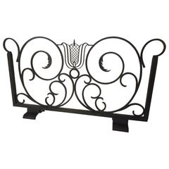 Wrought Iron Firescreen Attributed to Raymond Subes