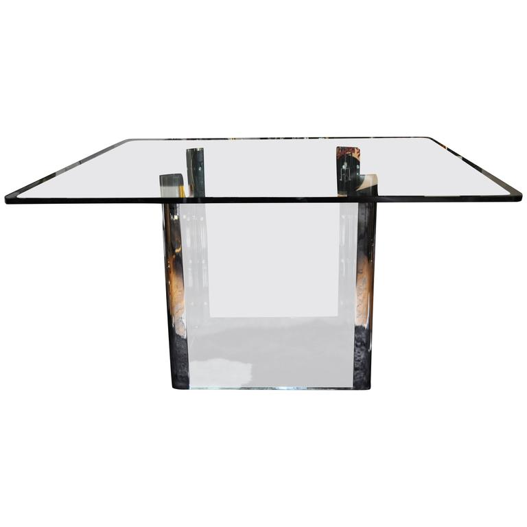 Pace Collection Chrome and Glass Square Dining Table Base, 1970's