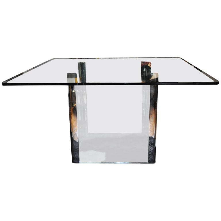 Pace Collection Chrome And Glass Square Dining Table Base 1970 S