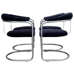 Four Anton Lorenz Chrome Chairs for Thonet