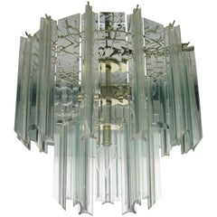 Modern Lucite and Crystal Two-Tier Chandelier, ca. 1960s