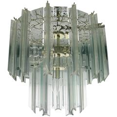 Vintage Modern Lucite and Crystal Two-Tier Chandelier, 1960s