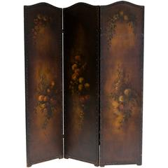 Three-Panel Painted Floral Leather Screen