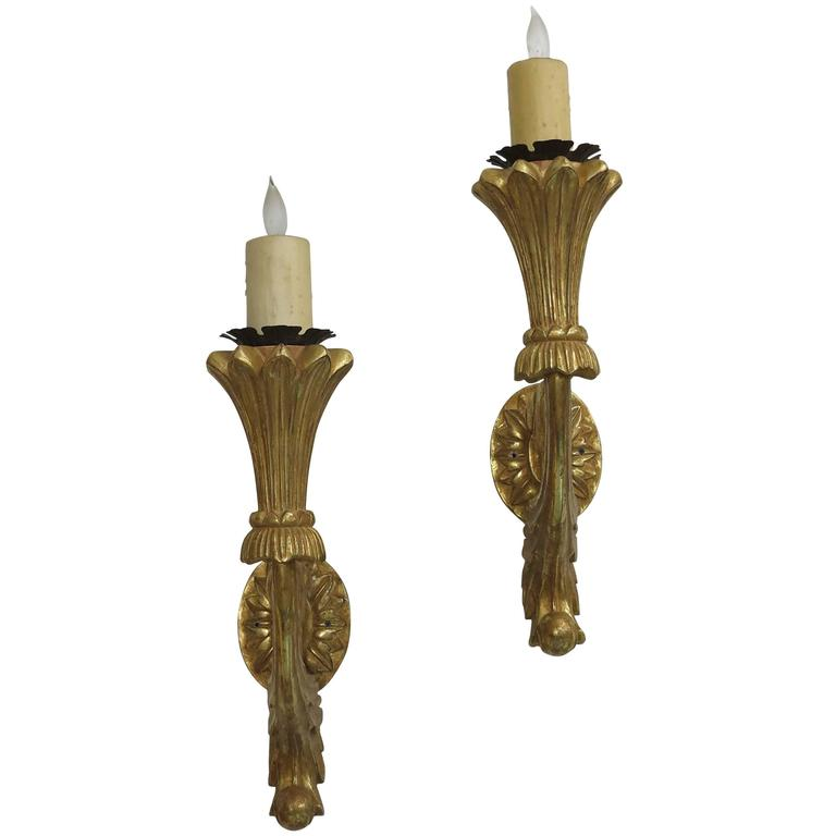 Italian Made Wall Sconces : Italian Carved Gilt wood wall sconces at 1stdibs