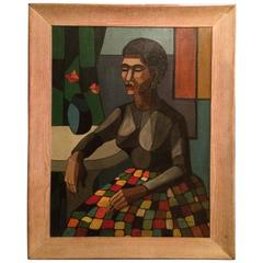 Cubist Portrait of a Woman with Flowers