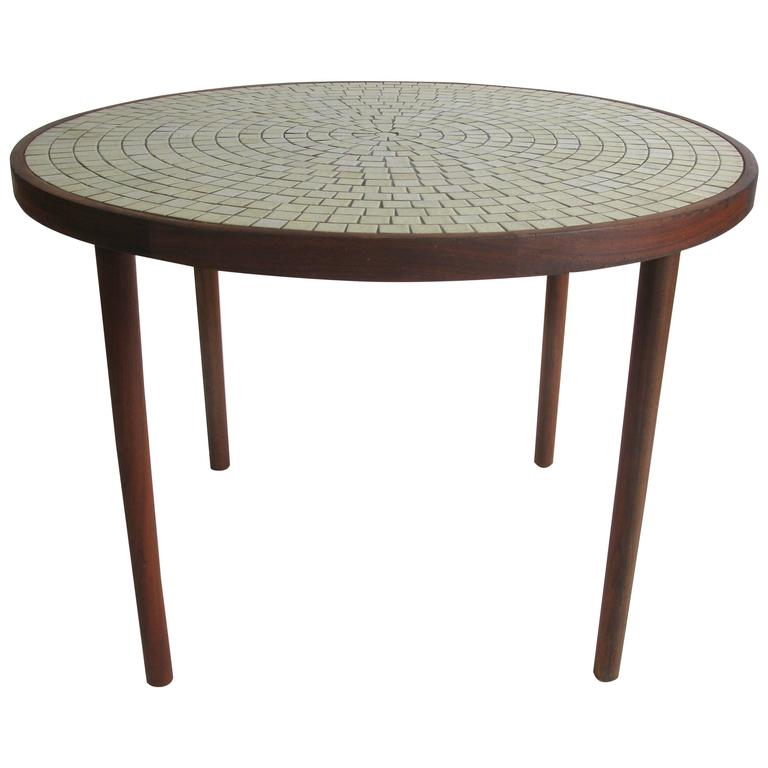 Walnut and Ceramic Tile Dining Table by Gordon Martz at stdibs