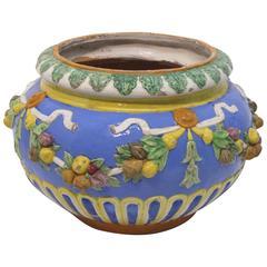 19th Century Italian Della Robbia Terra-Cotta Faience Pot Planter