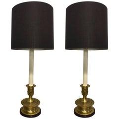 Pair of Frederick Cooper Long Stem Brass Lamps