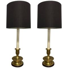 Pair of Frederick Cooper Long Stem Brass Lamps