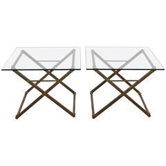 Pair of Bronze and Steel X-Form Coffee Tables with Glass Top