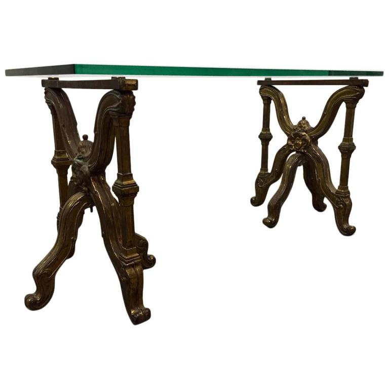 Italian Bronze Glass Top Coffee Table