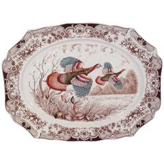 "Large Wild Turkeys ""Flying"" Platter by Johnson Brothers"