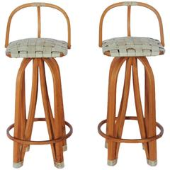 Stylish Modern Bentwood & Leather Bar Stools