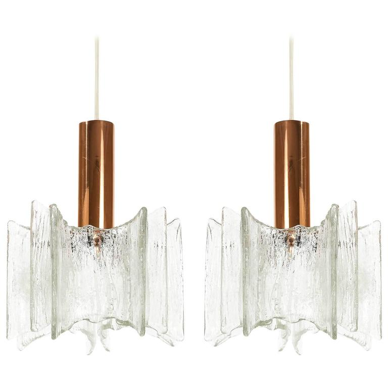 Pair of Kalmar Pendant Lights Copper Frosted Glass