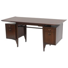 Fine and Unusual American Modern Dark Walnut Desk, Edward Wormley
