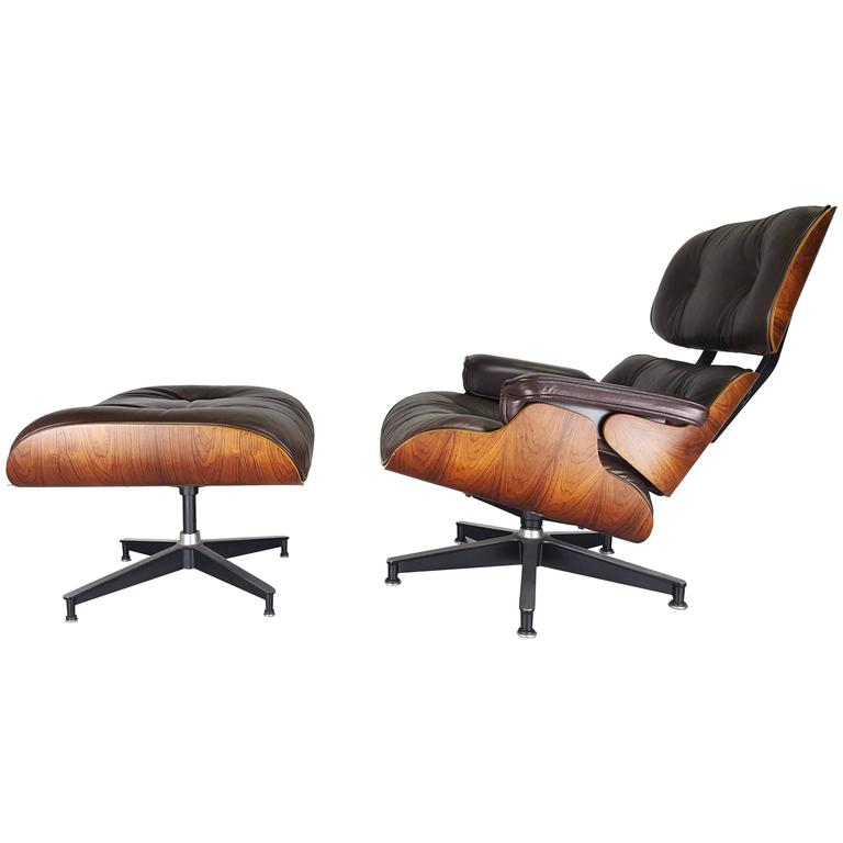 Iconic eames lounge chair and ottoman in brown leather and Iconic chair and ottoman