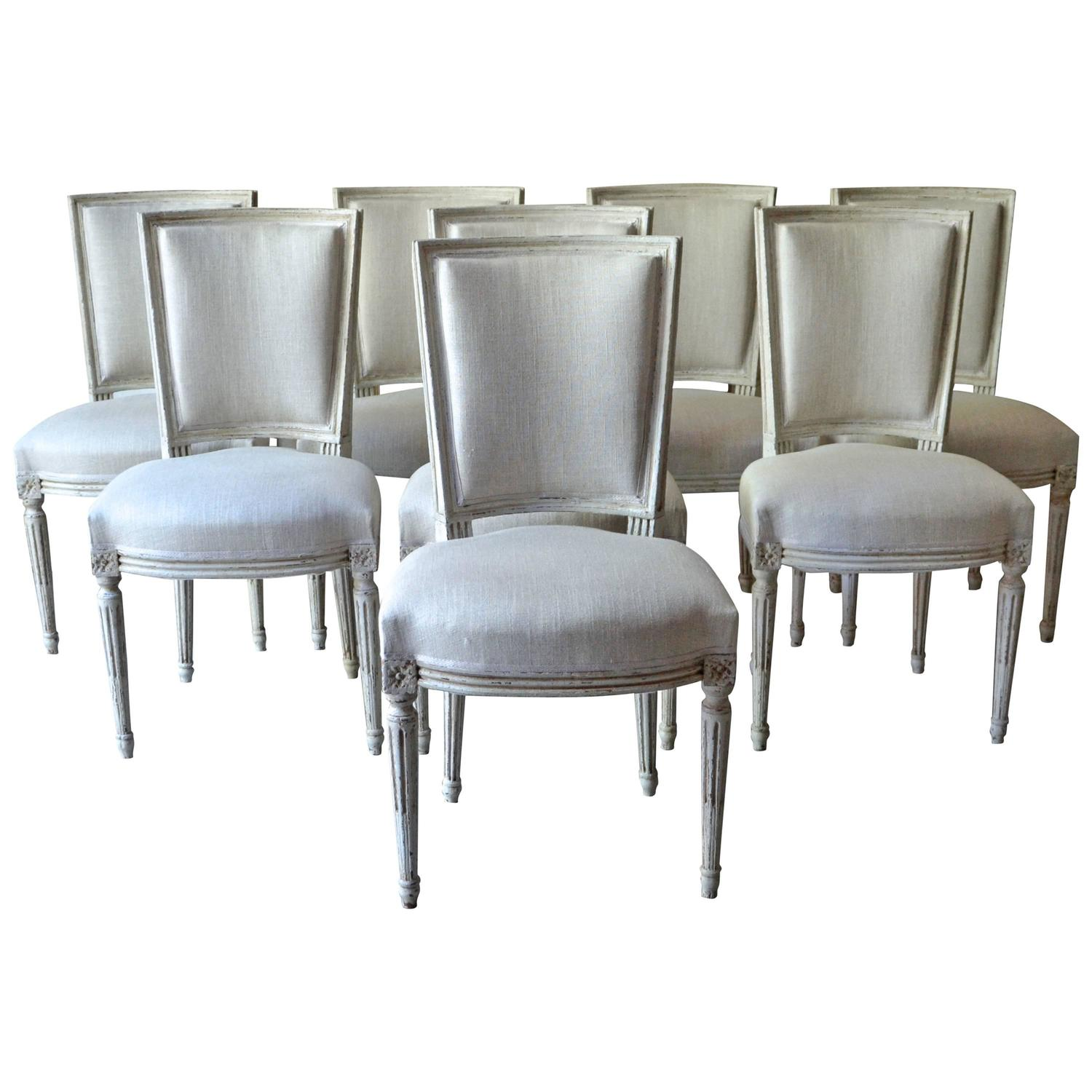 Set of eight painted french dining chairs at 1stdibs for Painted dining room furniture