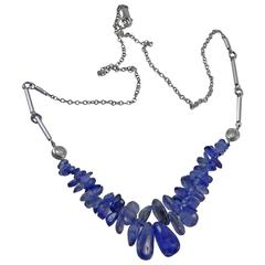 Natural River Tumble Ceylon Blue Sapphires from the 1940s Pendent Necklace