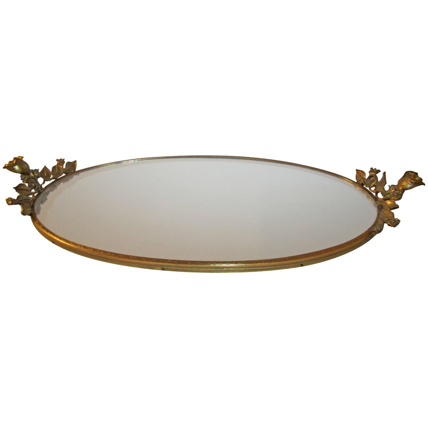 Midcentury brass and mirror vanity tray with decorative for Decorative bathroom tray