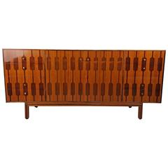Amazing Inlayed Graphic Rosewood and Teak Chest by Romweber, 1950s