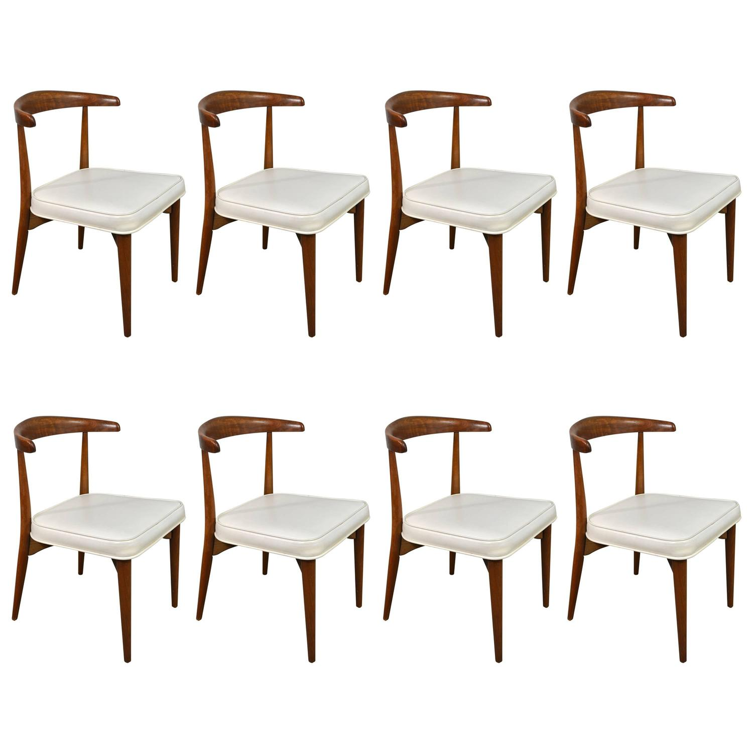 Lawrence Peabody Mid Century Modern Dining Chairs Set of Eight at