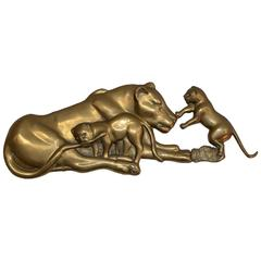 Cast Brass Relief of Lioness with Two Cubs Wall Mounted Sculpture