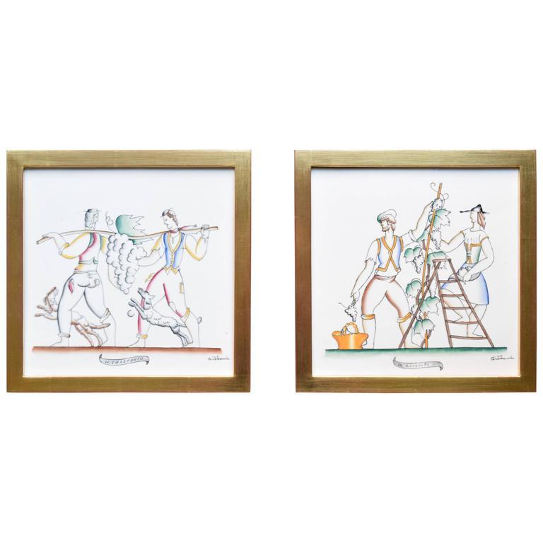 Rare Pair of Signed Gio Ponti Polychrome Tiles