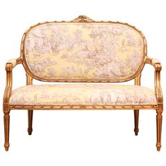 French Gilt Toile Settee