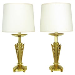 Pair of Custom Art Deco Inspired Brass Table Lamps
