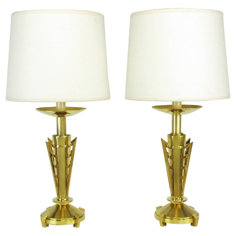 Pair of Custom Art Deco Inspired Brass Table Lamps For Sale