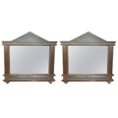 Pair of Antique Italian Palladian Style Painted And Gilt Wood Mirrors