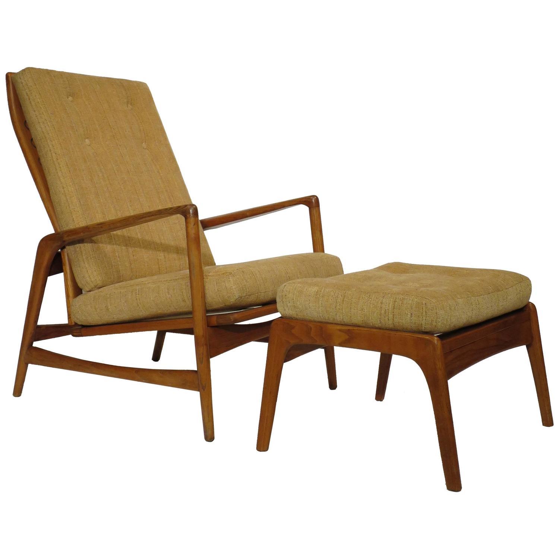 Ib Kofod Larsen Reclining Lounge Chair with Ottoman at 1stdibs