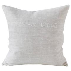 Embroidered Text 'They are Lying' Pillow