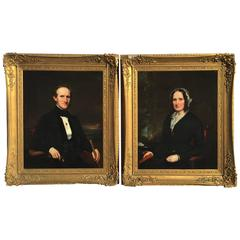 Pair of Mid-19th Century Formal Portraits, American School Possibly Philadelphia
