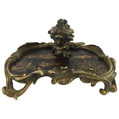 Antique Chinoiserie Ormolu & Lacquer Encrier