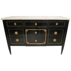 Maison Jansen  Ebonized Marble-Top Commode