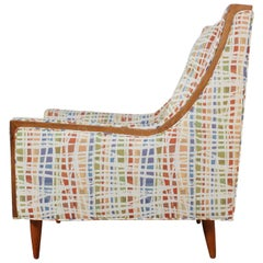 Mid-Century American Modern Lounge Chair with Walnut Border