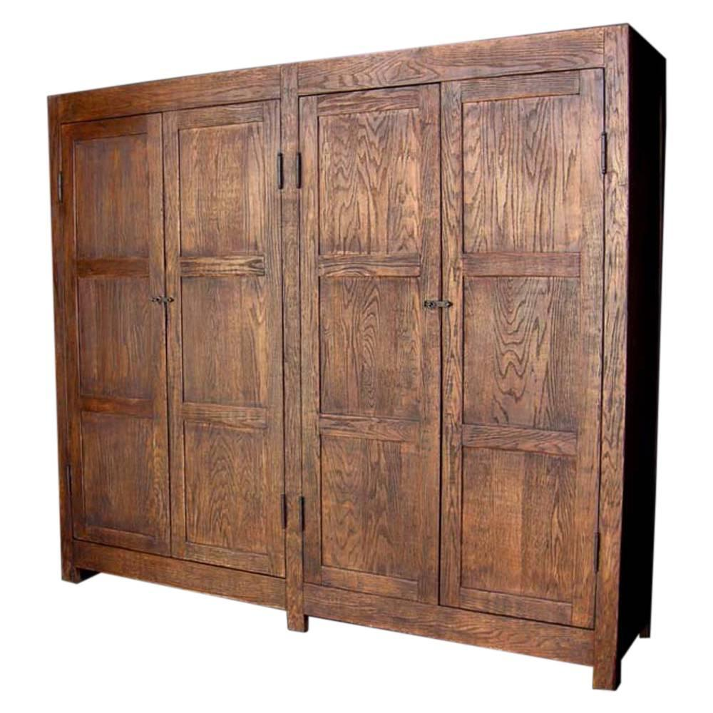 Dos Gallos Custom Large Oak Wood Cabinet or Wardrobe For Sale at ...