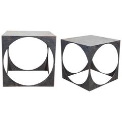 Iron Cutout Circle Cube Side Tables