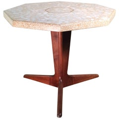 Custom Mid Century Modern Terrazzo Pedestal Side Table By Harvey Probber
