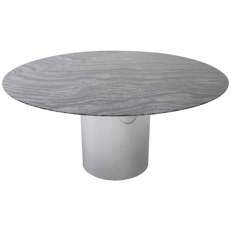 Knoll Dining Table With 60 Round Marble Top At 1stdibs