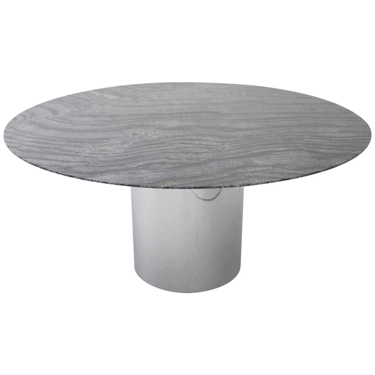 Knoll dining table with 60 round marble top at 1stdibs for Round stone top dining table